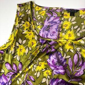 St. John   Floral Silk Blouse sz XL